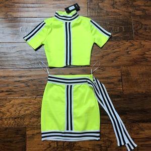 Neon Crop Top and Skirt Set